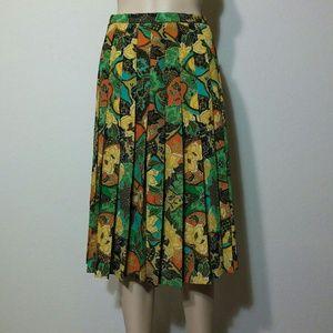 Vintage Pleated Textile Skirt